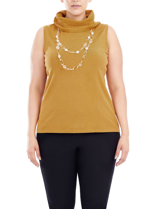 Sleeveless Knit Turtleneck, Yellow, hi-res