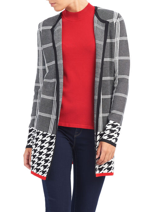 Houndstooth Print Knit Cardigan, Black, hi-res