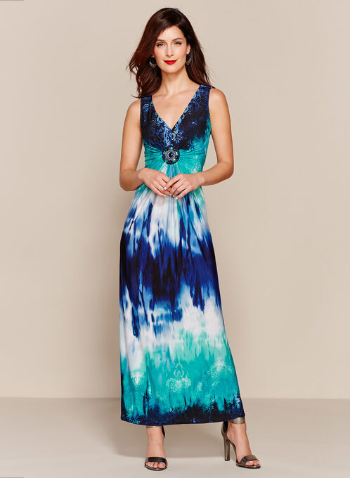 Tie Dye Medallion Trim Maxi, Blue, hi-res