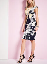 Abstract Floral Print Dress, Black, hi-res