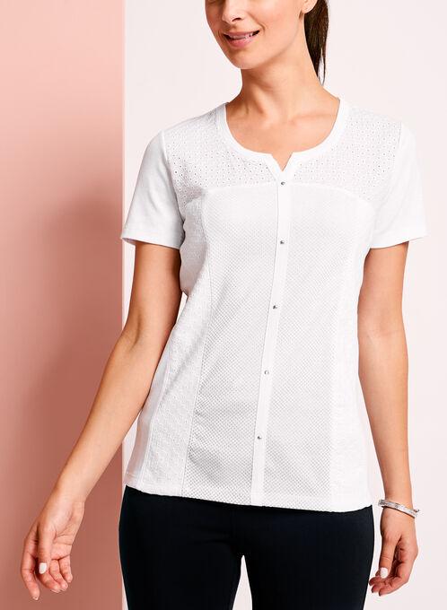 Eyelet Lace Embellished T-Shirt, White, hi-res