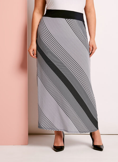 Jersey Stripe Print Maxi Skirt, Blue, hi-res