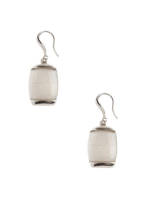 Boucles d'oreilles pierre marbrée, Blanc, hi-res