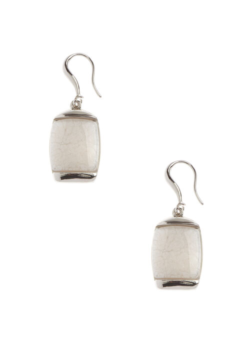 Marble Stone Earrings, White, hi-res