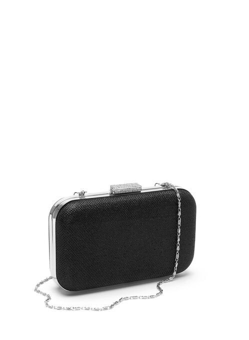 Crystal Glitter Clutch , Black, hi-res