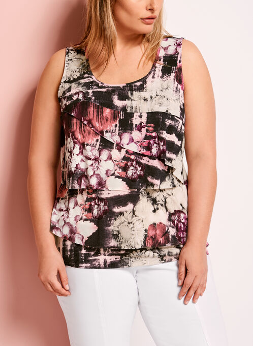 Abstract Floral Print Tiered Blouse, Red, hi-res