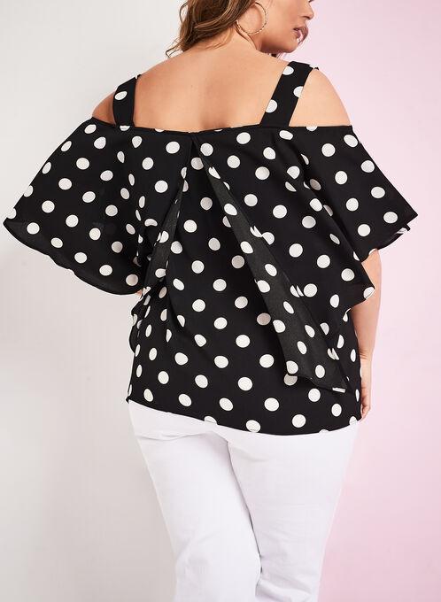Dot Print Cold Shoulder Blouse, Black, hi-res