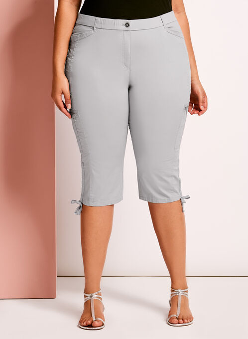 Modern Fit Straight Leg Cargo Capris, Silver, hi-res