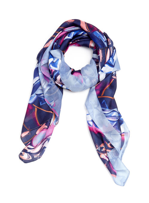Rose Print Scarf, Black, hi-res
