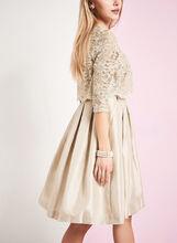 Glitter Lace Dress with Bolero, Gold, hi-res