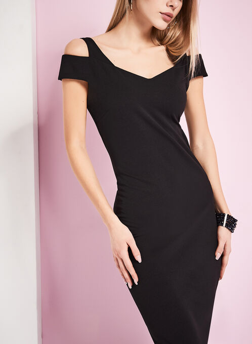 Cold Shoulder Sheath Dress, Black, hi-res