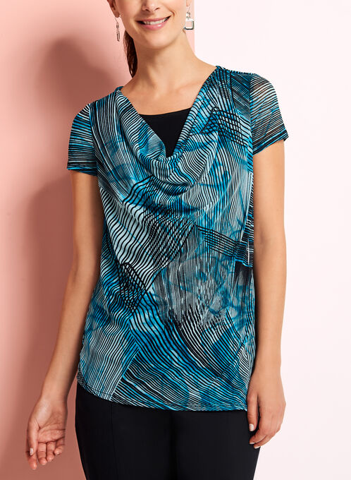 Drape Front Stripe Print Top, Blue, hi-res