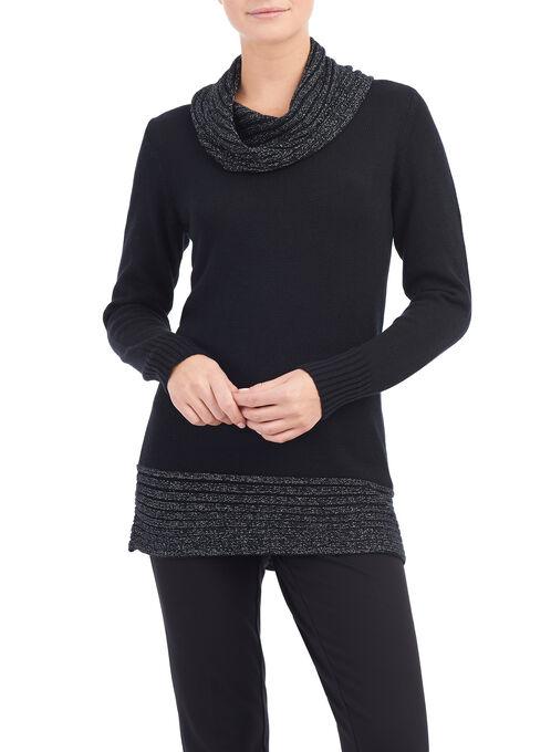 Lurex Cowl Neck Sweater, Black, hi-res