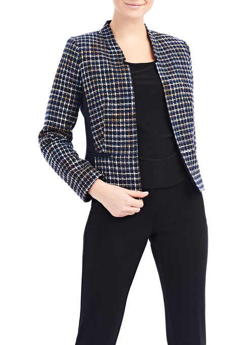 Bouclé Knit Jacket, Blue, hi-res