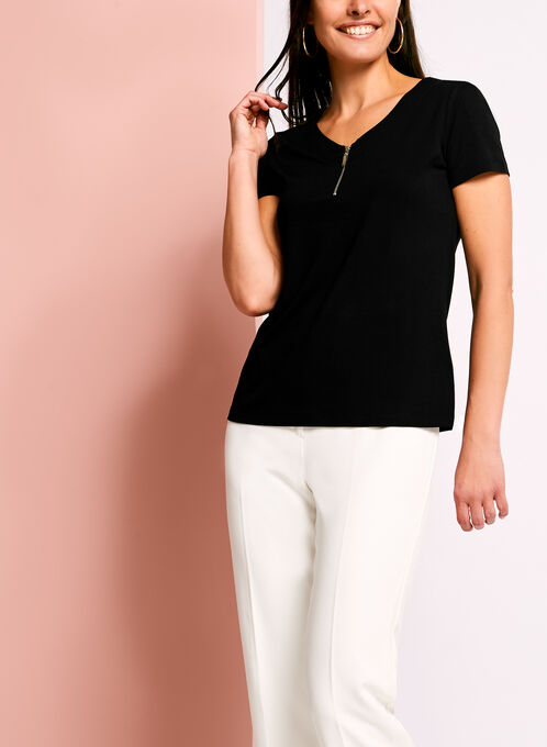 Zip Detail Double V-Neck T-Shirt, Black, hi-res