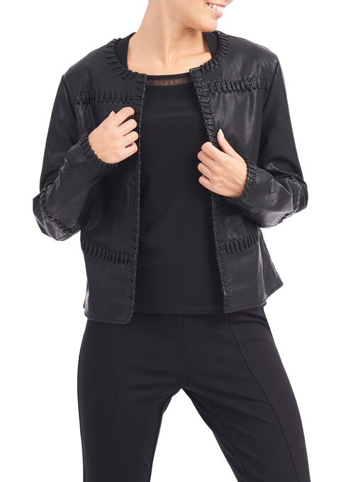Vegan Leather Stitch Detail Jacket, Black, hi-res