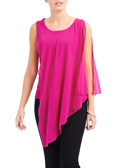 Asymmetrical Capelet Blouse, Pink, hi-res
