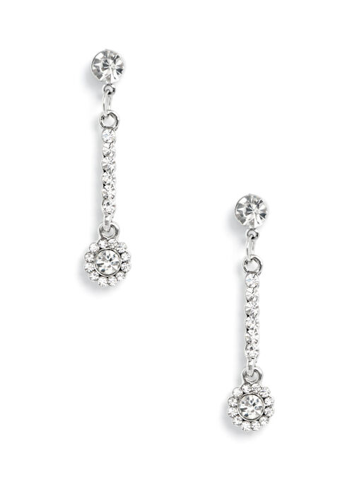 Crystal Dangle Earrings , Silver, hi-res