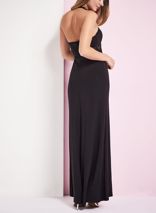 Sequin & Mesh Halter Neck Gown, Black, hi-res