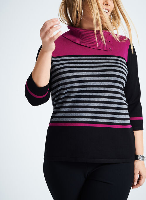 Split Collar Stripe Print Sweater, Red, hi-res