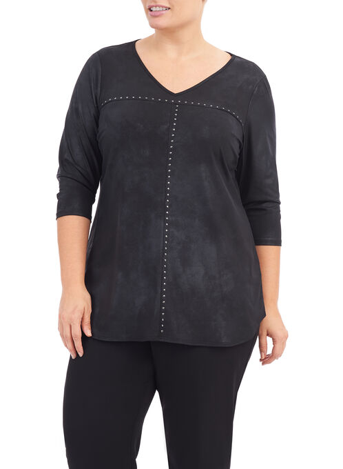 3/4 Sleeve Faux Leather Top, Black, hi-res