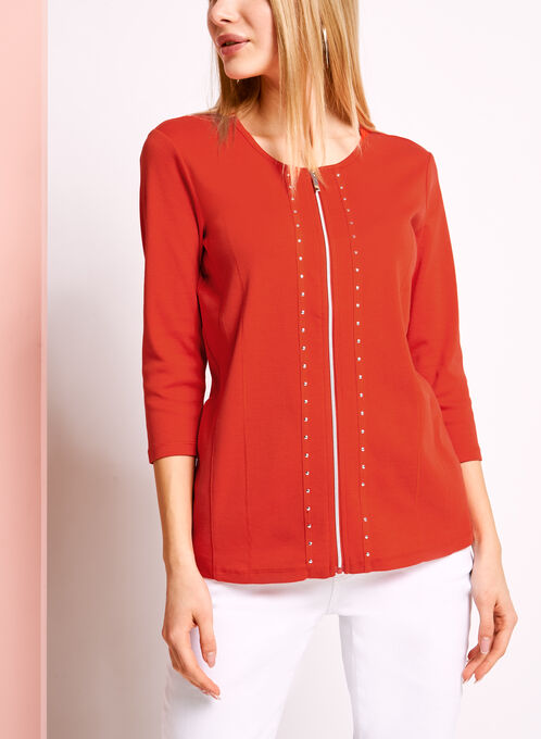 3/4 Sleeve Stud & Zipper Trim Top, Red, hi-res