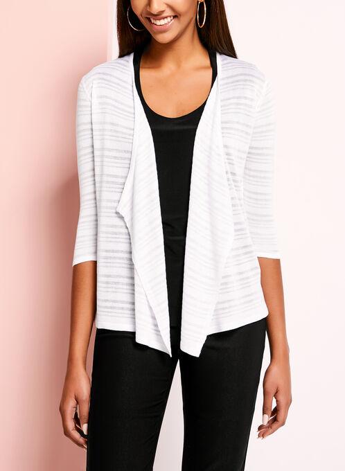 3/4 Sleeve Knit Cardigan, White, hi-res