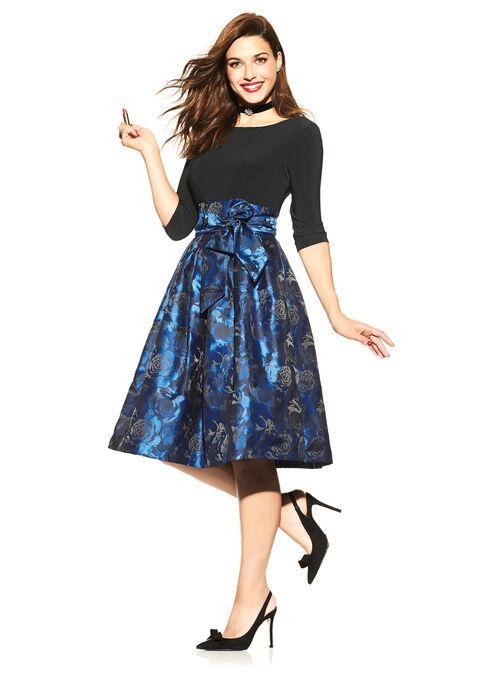 3/4 Sleeve Jersey & Jacquard Dress, Black, hi-res