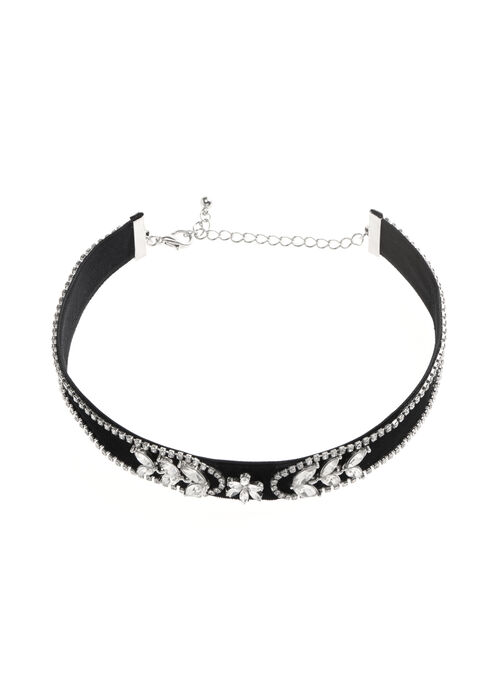 Crystal Choker Necklace, Black, hi-res