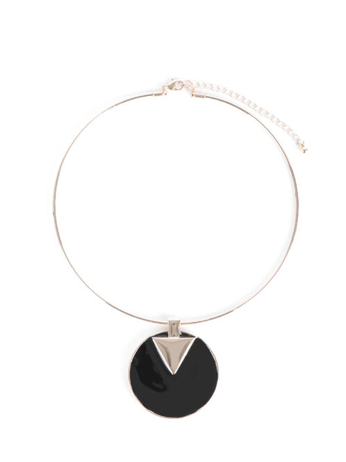 Triangle Pendant Collar Necklace, Black, hi-res