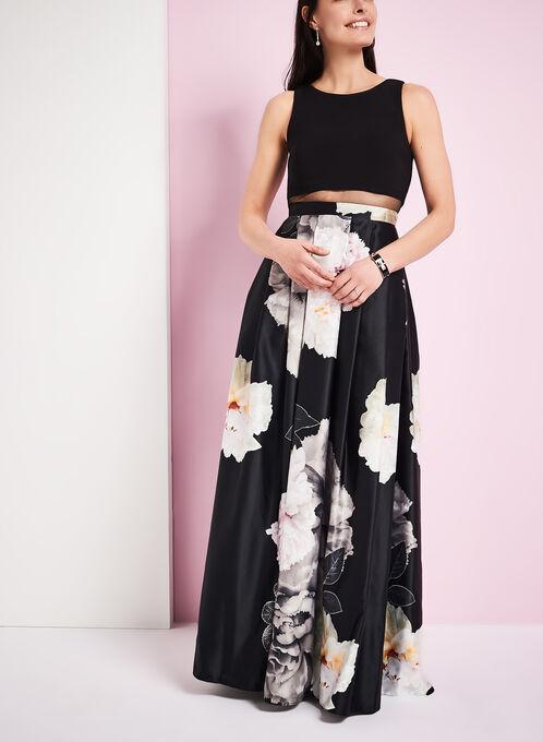 Robe de bal à insertion de résille et motif floral, Noir, hi-res