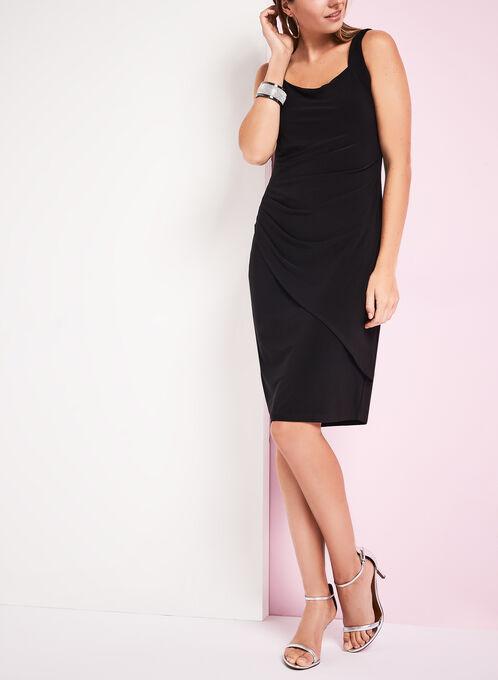 Sleeveless Side Tuck Jersey Dress, Black, hi-res