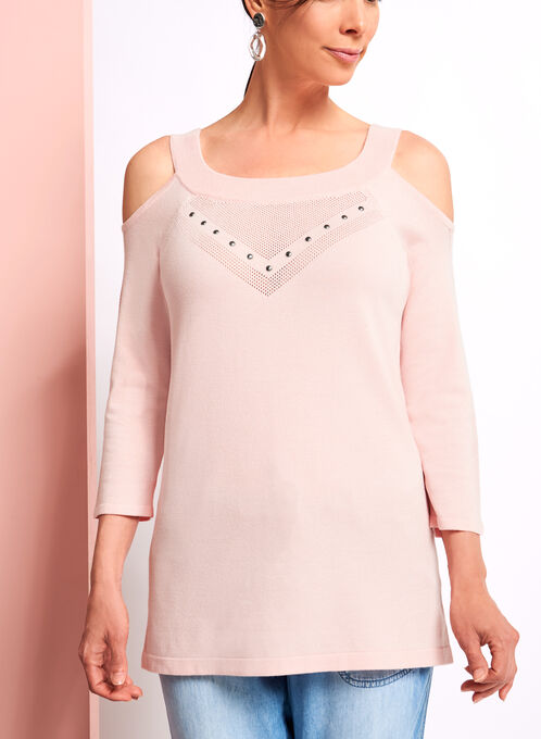 Pointelle Detail Cold Shoulder Sweater, Pink, hi-res