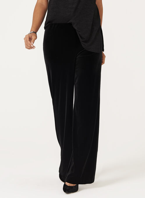 Wide Leg Pull-On Velvet Pants, Black, hi-res