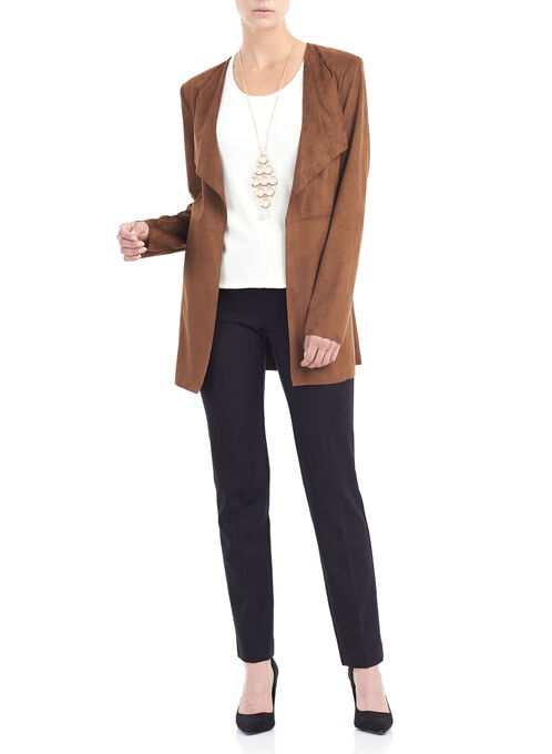 Flowy Collar Blazer Jacket, Brown, hi-res