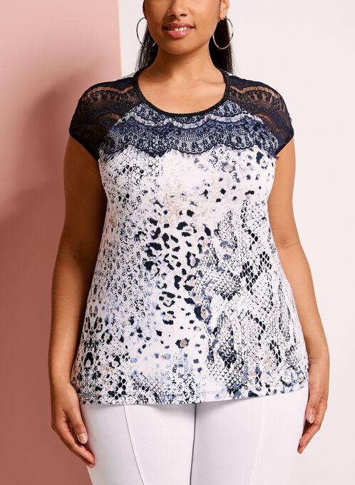 Embellished Lace Trim Printed T-Shirt, Blue, hi-res