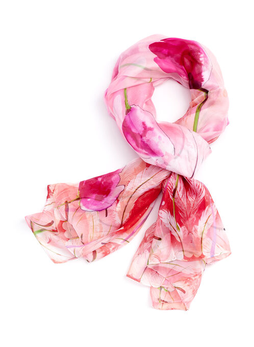 Floral Print Oblong Chiffon Scarf, Pink, hi-res