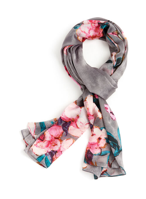 Blossom & Bird Print Scarf, Grey, hi-res