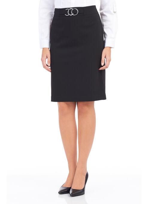Crêpe Slit Back Pencil Skirt , Black, hi-res