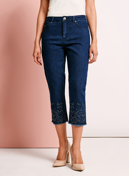 Simon Chang Embellished Denim Capris, Blue, hi-res