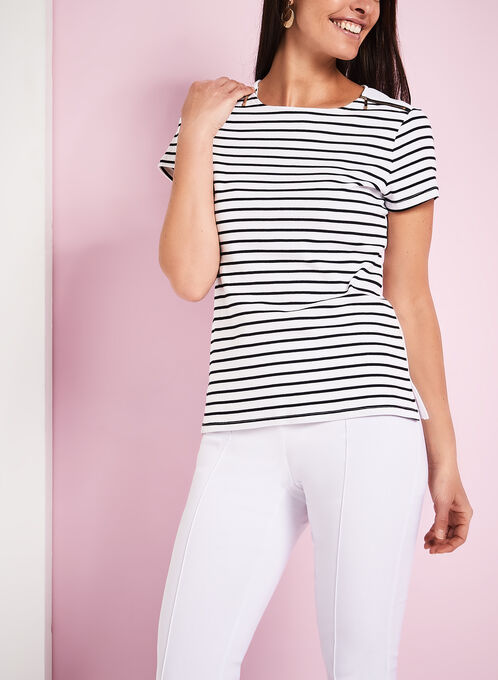Stripe Print Scoop Neck T-Shirt, White, hi-res