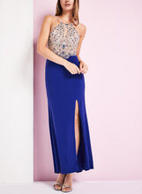 Beaded Mesh Halter Dress, Blue, hi-res