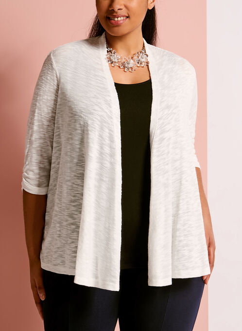Ruched Sleeve Cascade Front Cardigan, White, hi-res