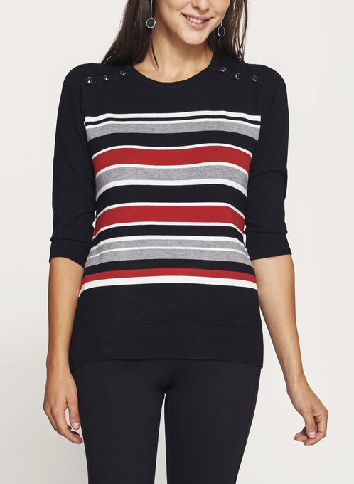 3/4 Sleeve Stripe Print Sweater, Red, hi-res