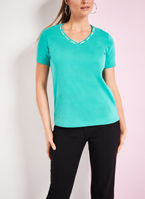 Lace & Grommet Trim T-Shirt, Blue, hi-res