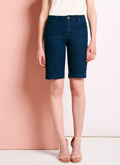 Simon Chang Denim Bermuda Shorts , Blue, hi-res