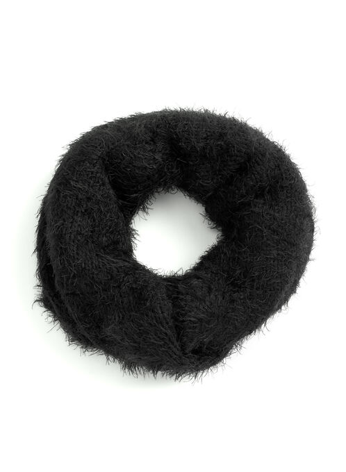 Knit Loop Scarf, Black, hi-res