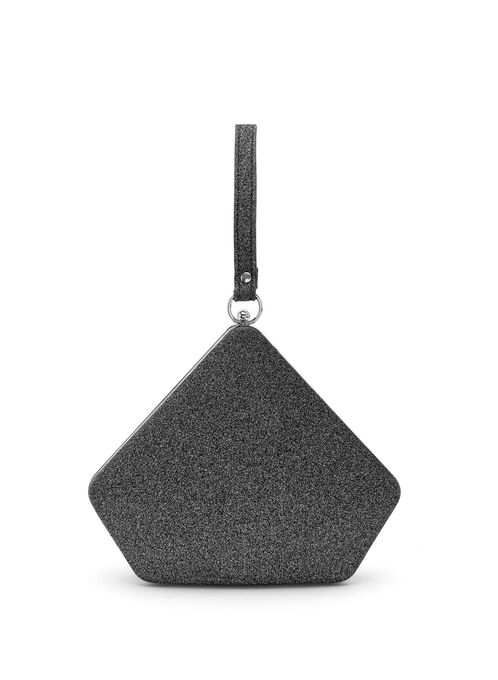 Triangle Glitter Clutch, Black, hi-res