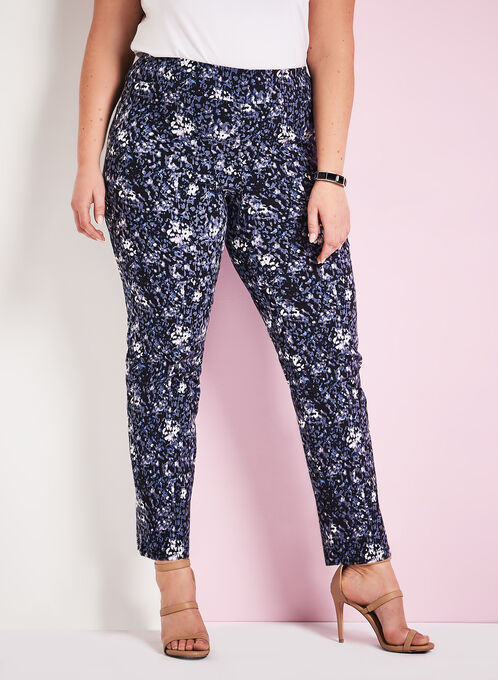 Abstract Print Slim Leg Pants, Blue, hi-res