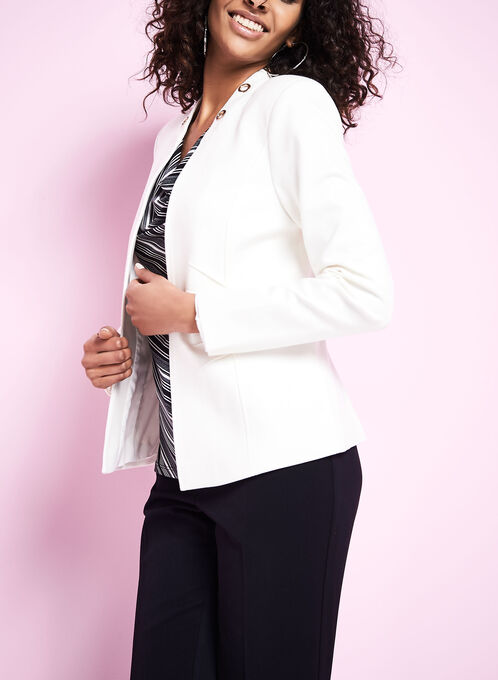 Open Front Eyelet Jacket, Off White, hi-res